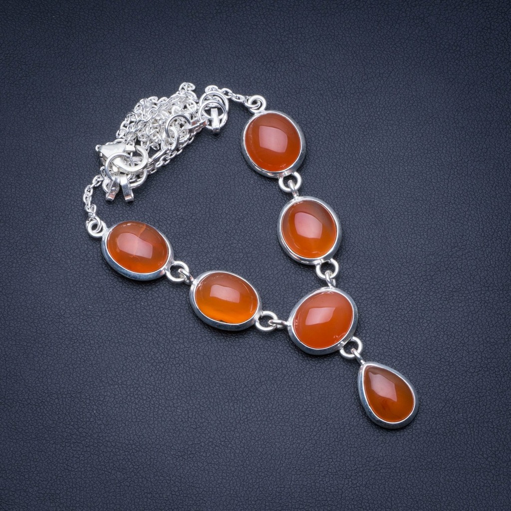 Natural Carnelian 925 Sterling Silver Y-Shaped Necklace 18 1/4 R2748Natural Carnelian 925 Sterling Silver Y-Shaped Necklace 18 1/4 R2748