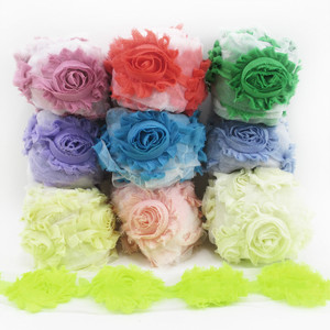 5Y41502 Fashion Chic Shabby Flowers For Baby Hair Accessories Frayed Fabric Flowers For Headbands,DIY handmade materials,65mm