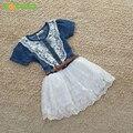 2016 Nuevos Al Por Menor del nuevo del resorte niños ropa casual chicas princesa dresse vestido del cabrito de algodón de manga corta de mezclilla delgada