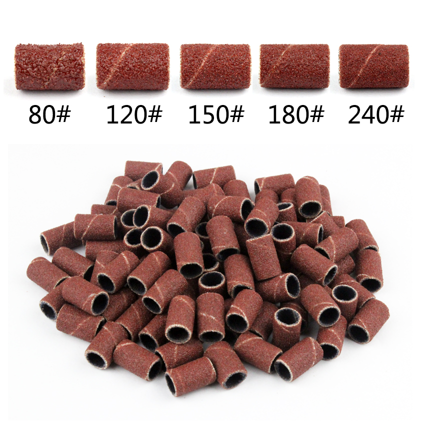Tignish 100Pcs/Pack #80 #120 #150 #180 #240 Sanding Bands Manicure Pedicure Nail Electric Drill Machine Grinding Sand Ring Bit