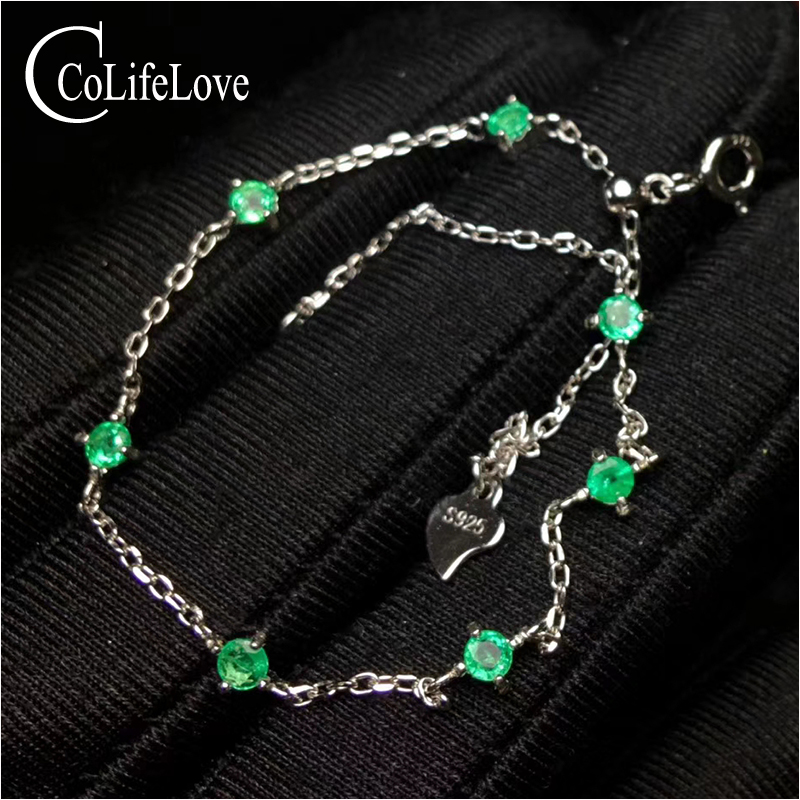 100 natural Zambia emerald bracelet for wedding 3 mm round SI grade emerald silver bracelet 925