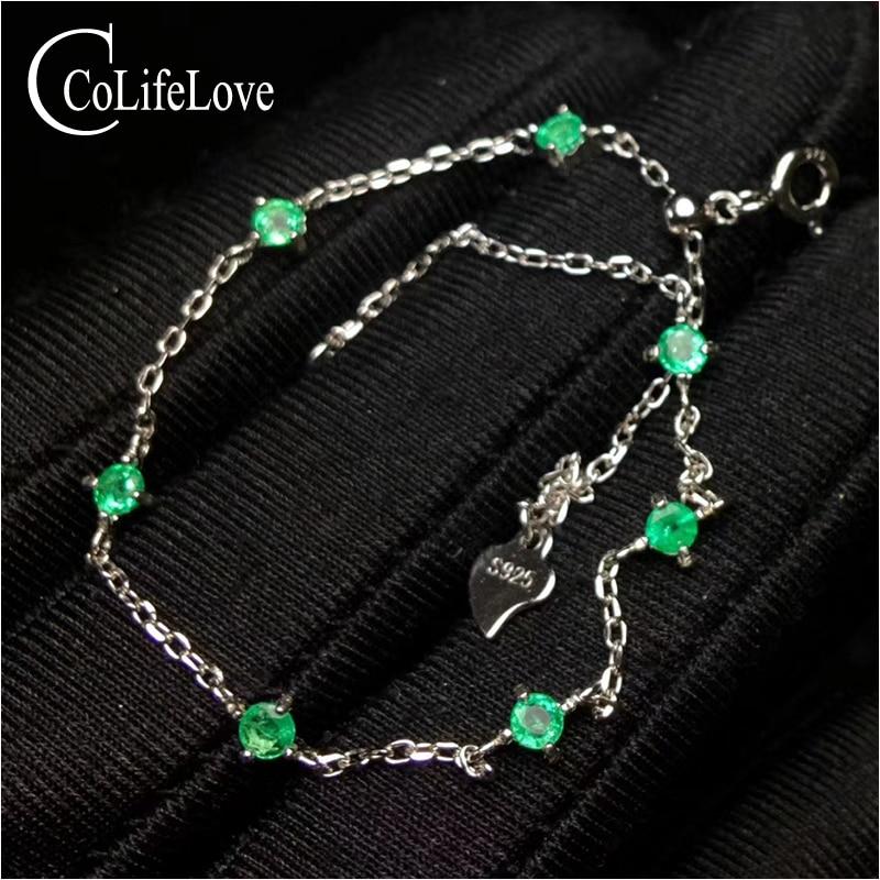100% naturalne Zambia emerald bransoletki na ślub 3mm okrągły SI klasy szmaragdowy bransoletka 925 sterling silver szmaragd biżuteria w Bransoletki i obręcze od Biżuteria i akcesoria na  Grupa 1