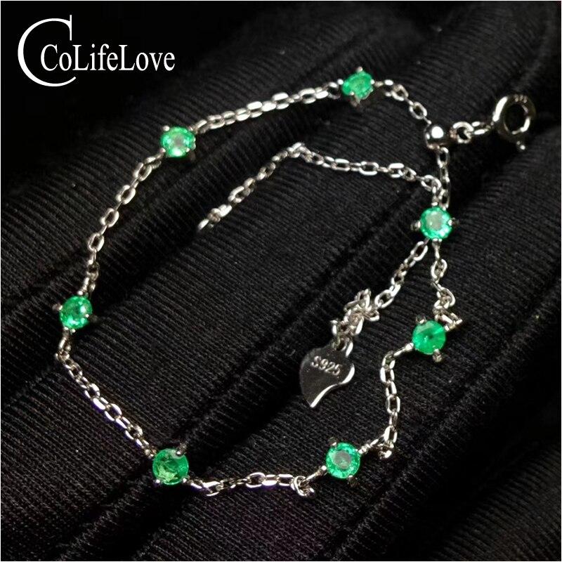 100% naturel zambie bracelet émeraude pour mariage 3mm rond SI grade bracelet en argent émeraude 925 bijoux en argent sterling émeraude