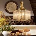 Современная медная люстра  кованые светодиодные люстры  осветительные приборы  светодиодная Подвесная лампа со стеклянным абажуром для го...