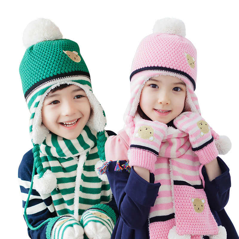 c9bda402606d7 New Fashion Children Hats Scarf Gloves three - piece Warm Autumn Winter Boys  Girls Baby Caps