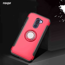 hot deal buy mobile phone accessories xiomi pocophone f1 xiami case adsorbable shell for xiaomi mi 5x magnetic ring armor silicone back cover