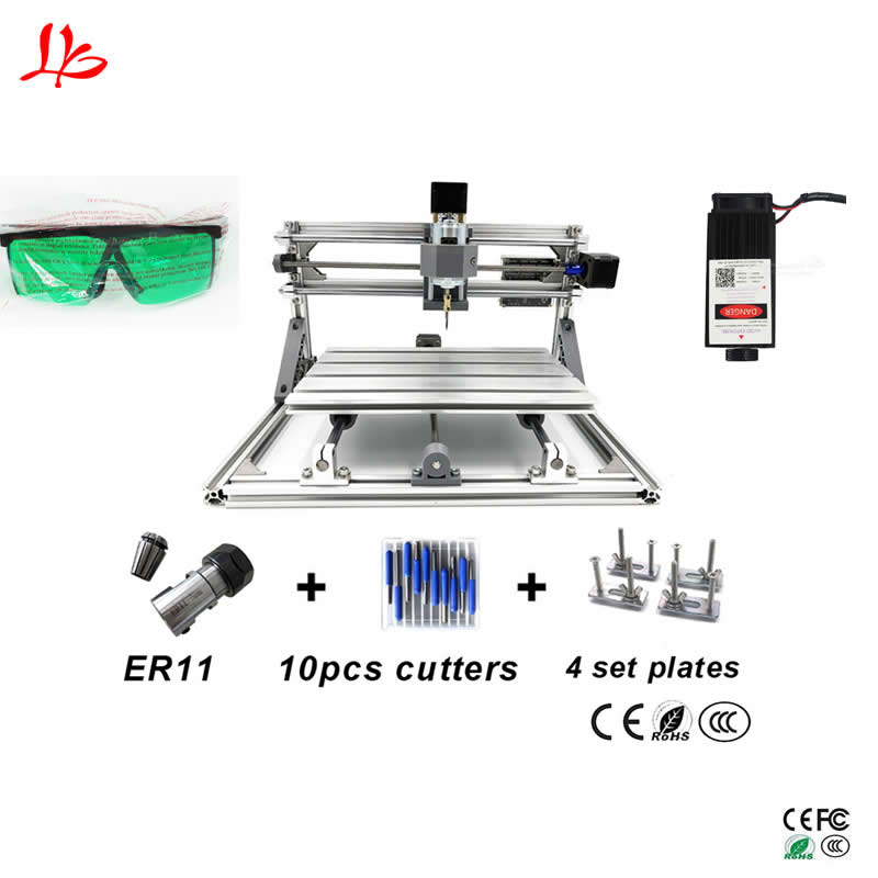10W DIY cnc laser engraving machine 3018 metal marking machine cnc miiling router 2418 10w laser engraver metal laser marking machine cnc router with 140 200mm engraving area for stainless steel aluminum marking