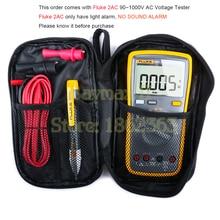Цифровой мультиметр Fluke 12E+ с автоматическим диапазоном с Fluke 2AC 90~ 1000 В/Fluke 1AC-C2II 200~ 1000 В тестер напряжения переменного тока и сумка для переноски