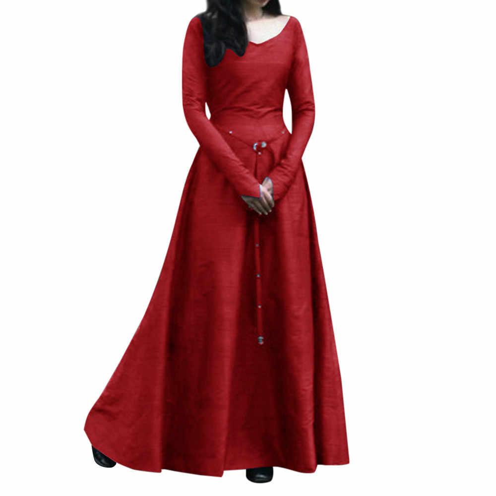 2019 dress Women Plus Size Solid Vintage dress Renaissance v-neck Long  Sleeve Bandage Long 3d6727e5ac03