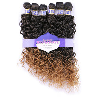 DELICE 6pcs Pack 16 20inch Women Water Wave Hair Weaving T1B 27 High Temperature Fiber Synthetic