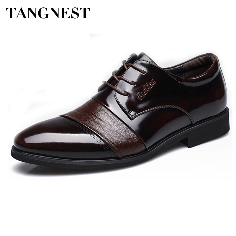 Tangnest Classic Men Dress Shoes For 2017 Autumn Pointed Toe Flats Men Business Shoes Man-made Leather Oxfords Size 37~44 XMP544 pu pointed toe flats with eyelet strap