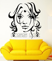 Sexy Girl Vinyl Decal Kiss Me Beauty Women Tattoo Decor Wall Stickers