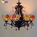 Фумат витражное стекло подвесной светильник винтажные светильники с орнаментом из роз для гостиной креативный стеклянный абажур светильн...