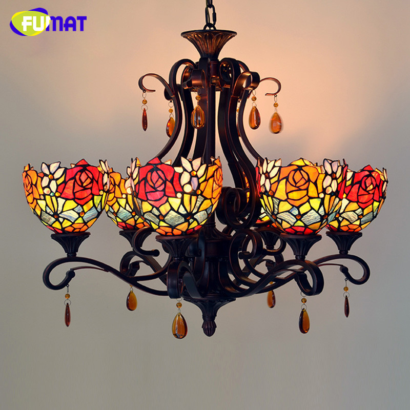 FUMAT Stained Glass Pendant Light Vintage Roses Lightings For Living Room Creative Glass Lampshade Light Fixtures Pendant Lamps