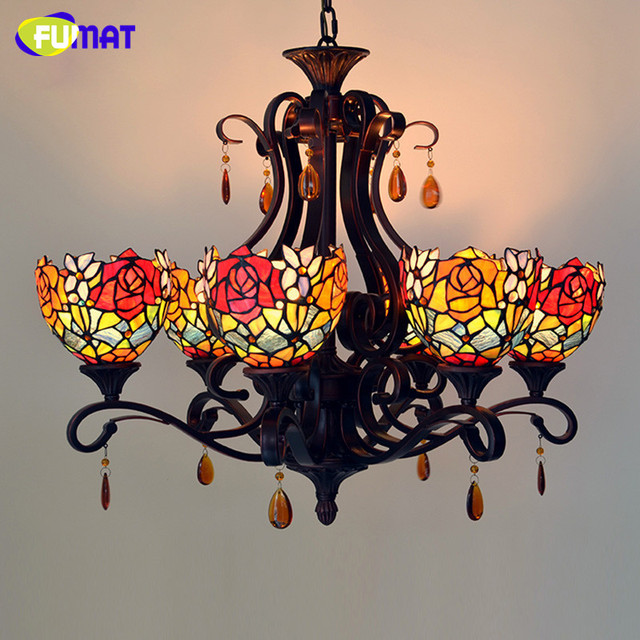 Fumat stained glass pendant light vintage roses lightings for living fumat stained glass pendant light vintage roses lightings for living room creative glass lampshade light fixtures aloadofball Gallery