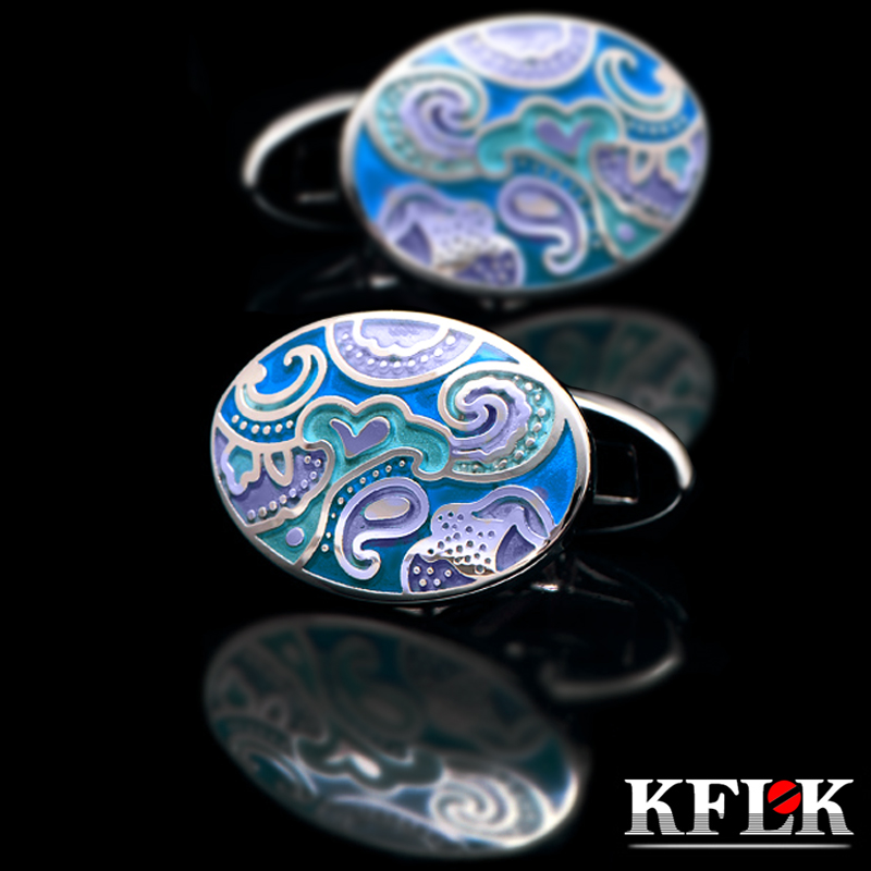 KFLK Jewelry shirt cufflinks for mens Brand Blue enamel Cuff link Wholesale Fashion Wedding Buttons High Quality Free Shipping