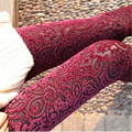 2016 New Casual Fashion Sexy Vintage Slim Skinny Floral Lace Velvet See Through Elastic Stretch High Waist Women Leggings Pants