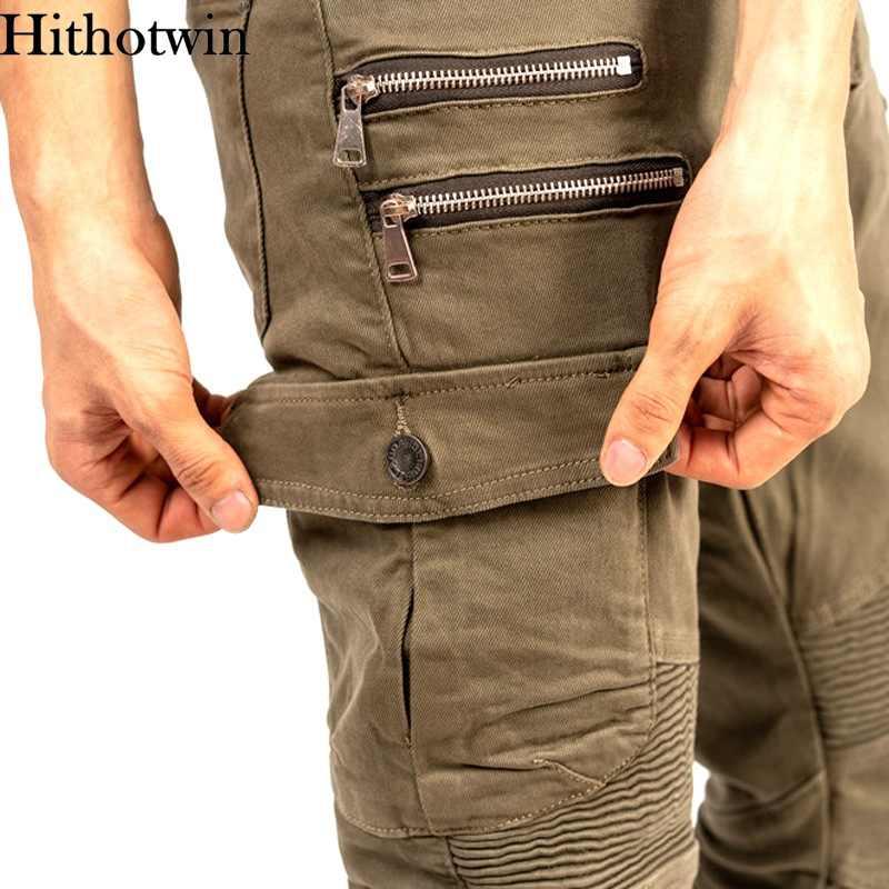 אופנוע מכנסיים גברים Moto ג 'ינס רוכסן מגן ציוד רכיבה סיור אופנוע מכנסיים מוטוקרוס Zip כיס מכנסיים Moto מכנסיים