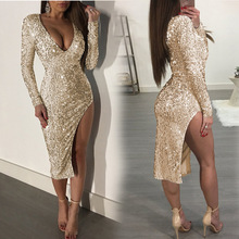2019 summer polka dot sequin golden glitter dress elegant sexy deep v neck bodycon wrap long sleeve dinner dresses for women plus crisscross v back glitter dot dress