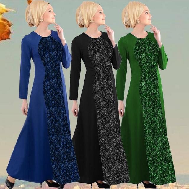 2016 outono Muçulmanos adultos mais grosso vestes Árabes abaya Muçulmano vestido mulheres lace vestido de algodão e linho tecido w1301
