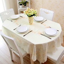 PVC Oval Table Cloth Waterproof and Oil Proof Hot European Plastic Tablecloth Table Cover Lace