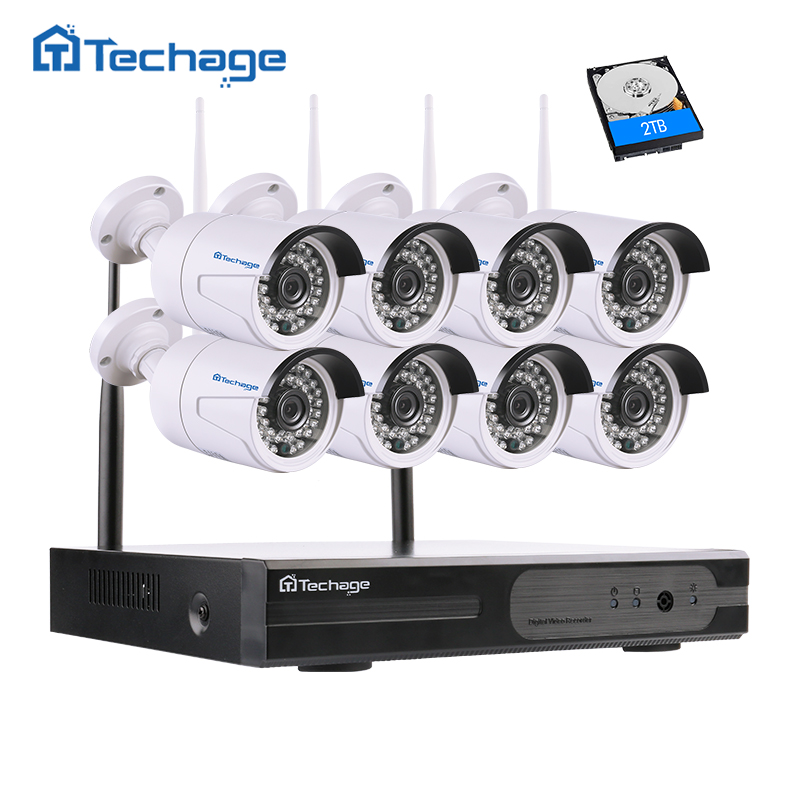 Techage 8CH 1080P Wireless NVR Kit Security Wifi CCTV System 8PCS 2.0MP Indoor Outdoor Cameras Video Surveillance Set APP View annke 8ch 720p 1500tvl cctv system 8pcs 720p ir outdoor security cameras 8ch 1080n 4in1 dvr kit cctv surveillance system