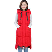 Winter Vest Women Hooded Plus Size 5XL Warm Winter Jacket Women Long Vest Parka Sleeveless Outwear Cotton Waistcoat Vest D509