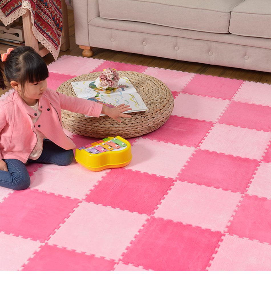 10Pcs/Lot Children's Rug Soft Plush Baby Play Mat Toys Eva Foam Kids Rug Puzzle Children's Mat Interlock Floor Playmat 30*30 CM