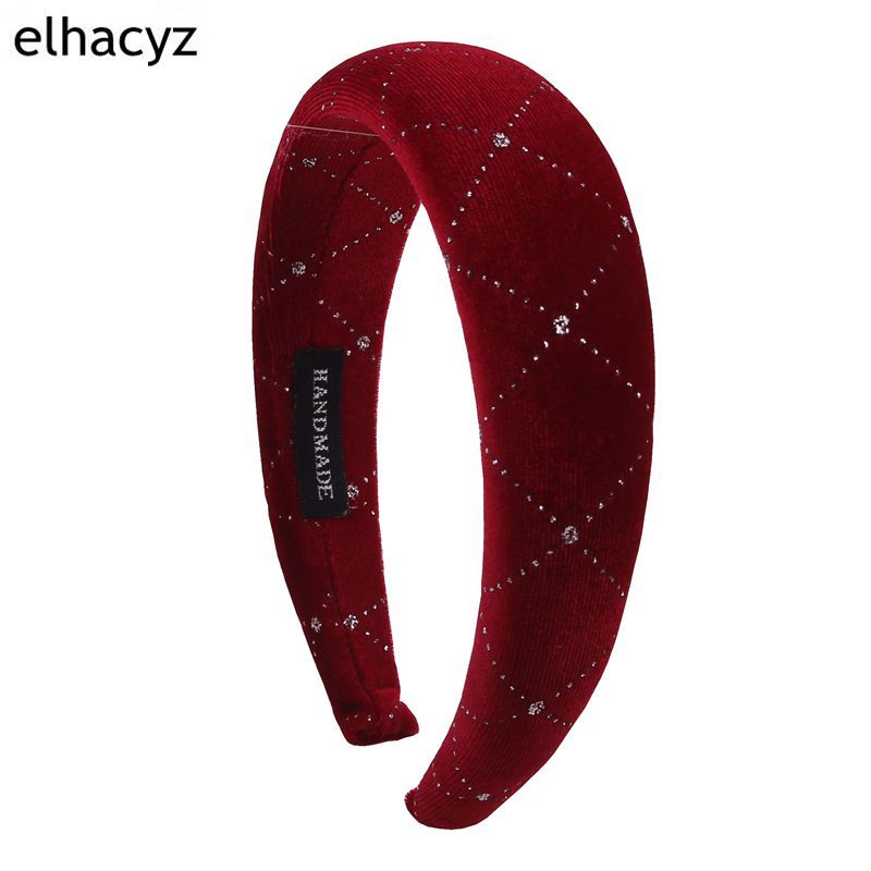 1PC Thick Velvet Gemstone Women Headbands Hair Accessories Fashion Headwear 4cm Wide Plastic Hairbands For Woman Drop Shipping in Hair Accessories from Mother Kids