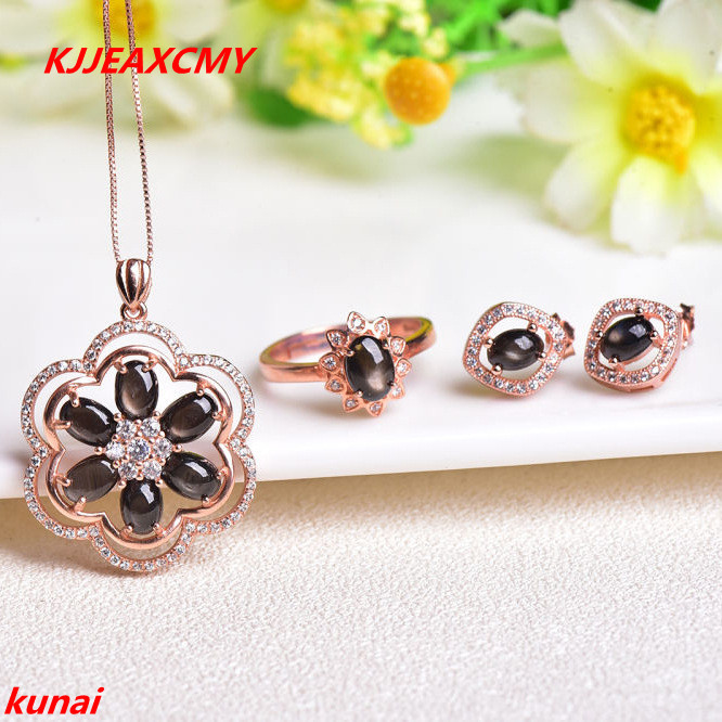 KJJEAXCMY boutique bijoux 925 collier de perles avec collier en saphir naturel, trois ensembles de bijoux de mariée, bijoux et bijoux.