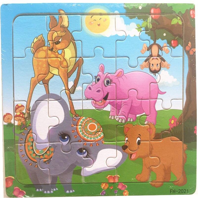 Деревянные пазлы игрушки 20 шт. дети радость Превосходное качество головоломки деревянные Мультяшные животные Развивающие головоломки игрушки для детей - Цвет: 22
