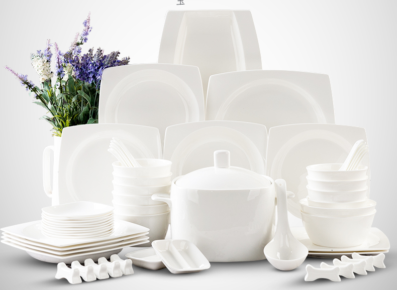 pure white ceramic square plate dinnerware set 56 piece china crockery dishes set festive gift - White Dinnerware Sets