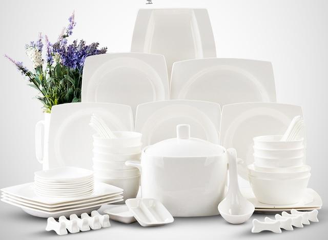 2017 pure white ceramic square plate dinnerware set 56 piece china crockery dishes set festive gift & 2017 pure white ceramic square plate dinnerware set 56 piece china ...