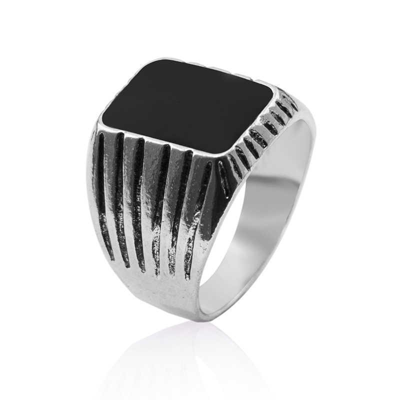 สินค้าใหม่คุณภาพสูง Vintage Punk แหวนเงินโบราณแฟชั่นสแควร์ Retro แหวนสำหรับชาย