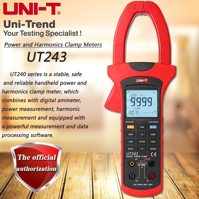 UNI T UT243 Clamped Harmonics Power Meter 1000A True RMS Ammeter Harmonics Analysis Phase Sequence Detection