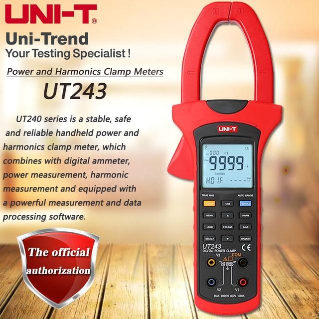 UNI T UT243 Bloccato Armoniche Misuratore di Potenza, 1000A Vero RMS Amperometro Armoniche di Analisi di Sequenza di Fase di Rilevamento USB di Trasferimento di Dati