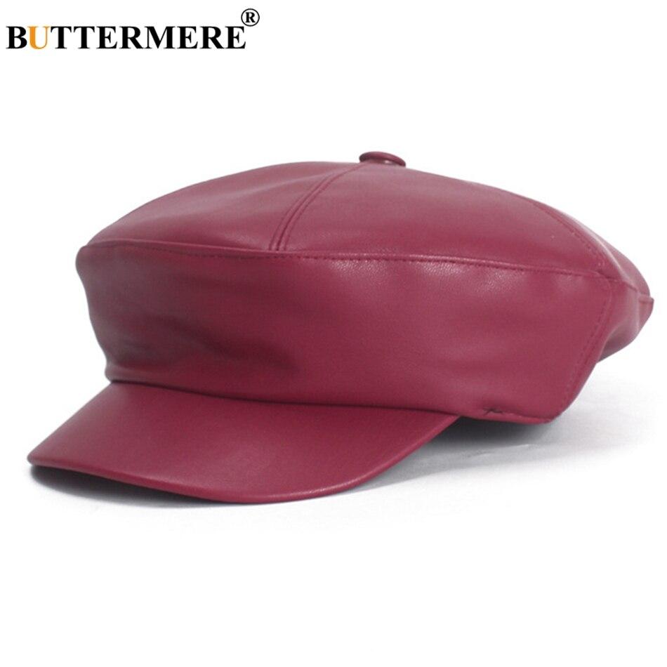 BUTTERMERE Women S Hat Leather Newsboy Caps Burgundy Vintage Flat Cap Ivy  Ladies Casual Painter Caps Autumn 58ed0498491