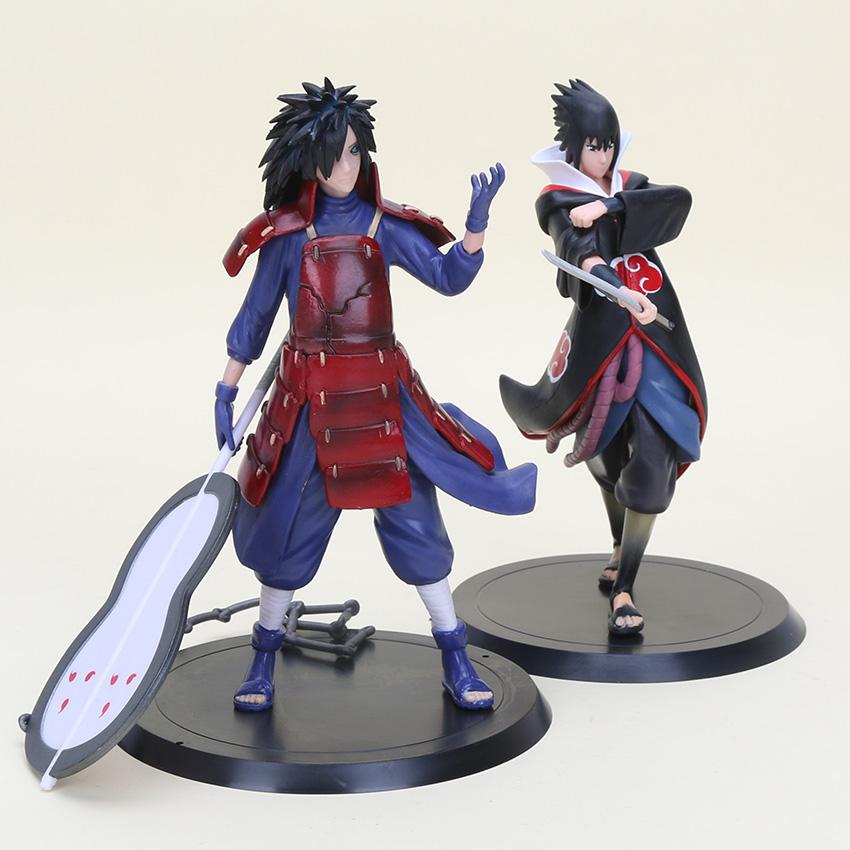 1136 22 De Réduction2 Pcslot Dessin Animé Japonais Naruto Figurine Daction Cool Pvc Jouets Uchiha Madara Sasuke Collection Figure Jouets In