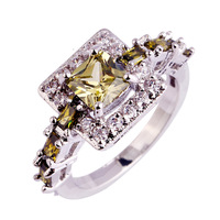 lingmei Jewelry Princess Cut Peridot & White Topaz Silver Ring Size 6 7 8 9 10 Sweet Women Present Free Shipping Wholesale
