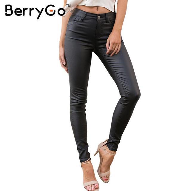 BerryGo pantalones capris leggings Otoño invierno de las mujeres atractivas de cuero de cintura alta pantalones pantalones lápiz pantalones Negros femeninos inferiores