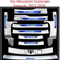 Wysokiej jakości stal nierdzewna zewnętrzny próg drzwi wewnętrzna płyta chroniąca przed zarysowaniem akcesoria samochodowe dla Mitsubishi Outlander Samurai 2013-2019