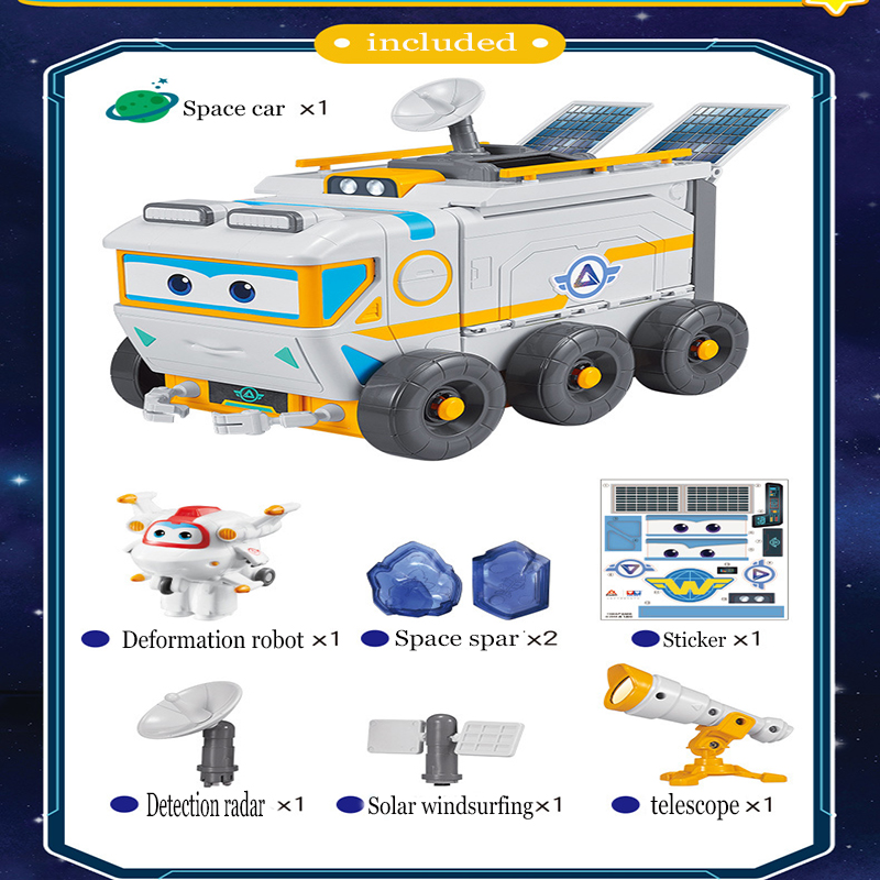 Super Wings Space Exploration Scene Shop Rescue Vehicle Fire Truck Action  Figures Children's Deformation Car Toys Gift 2A03
