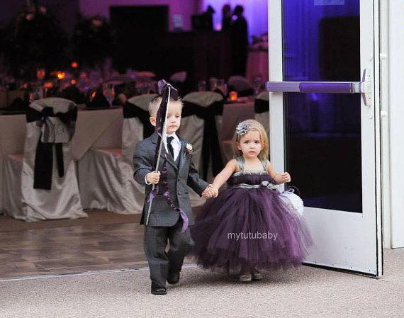 Eggplant Silver Flower Girl Tutu Dress for Wedding Party Purple Kids ...