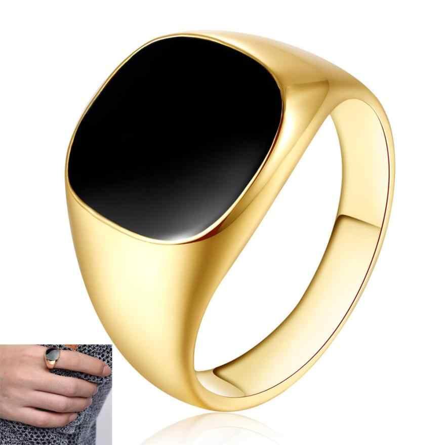 ขัดเงาทองแดงแหวน Band Biker Men Signet แหวนสีดำ Silver Aneis เครื่องประดับเครื่องประดับอุปกรณ์เสริม Anillos Trinket จี้