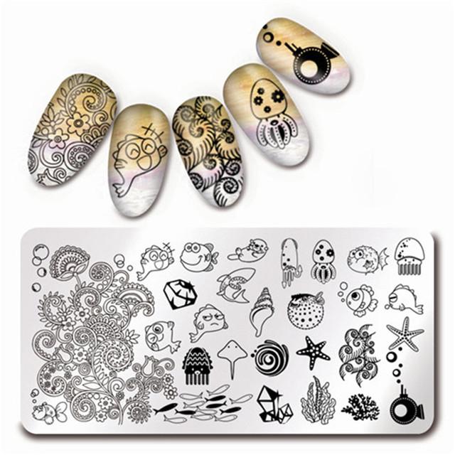 12*6 cm Nail Art Sello Plantilla de Diseño Placa de la Imagen de Organismos Marinos Harunouta L013