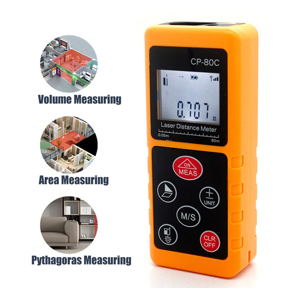 BOVLOV 80m/262ft/3150in Laser Distance Meter Measuring Tape Pythagorean Mode Range Finder Measure Area Volume LCD Display qldz01 1 5 lcd display range finder distance measuring wheel black yellow silver 2 x aaa