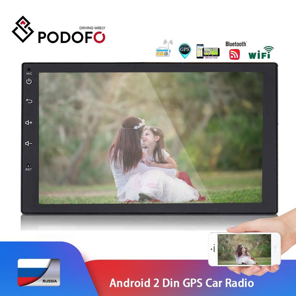 Podofo Android 2 din Car Radio 7 Autoradio Multimedia player GPS Bluetooth Mirror Link MP5 Player