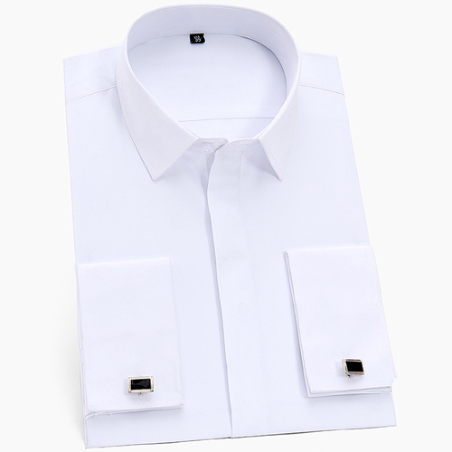 Men's Classic French Cuffs Solid Dress Shirt Covered Placket Formal Business Standard-fit Long Sleeve Shirts (Cufflink Included) 9