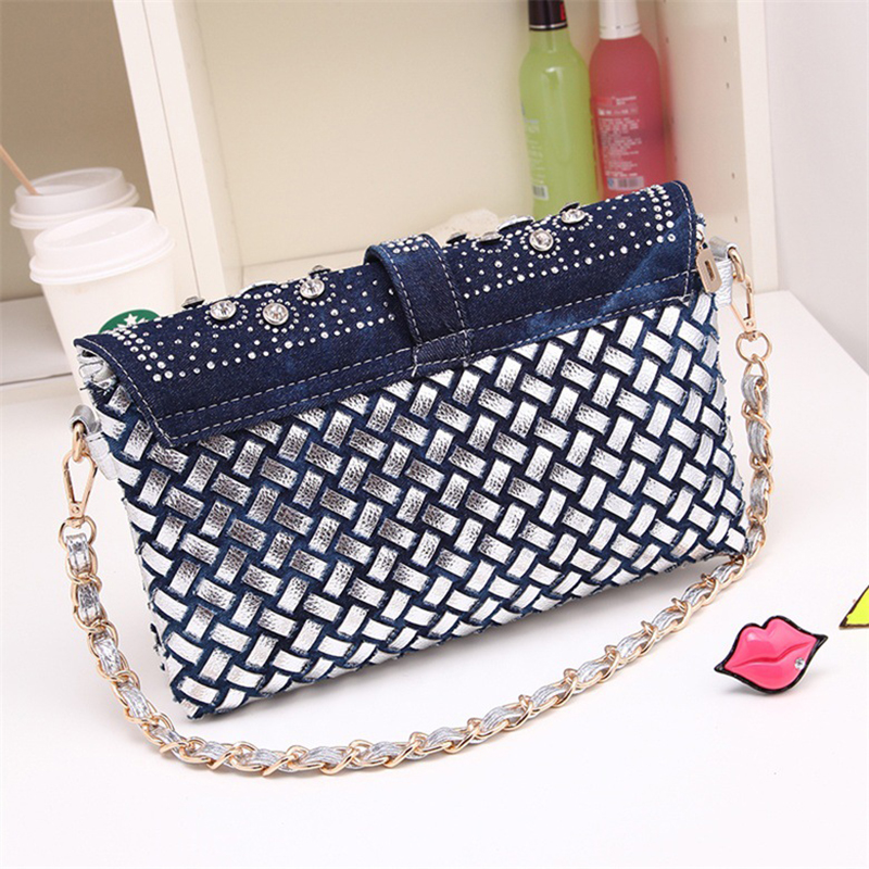 8a34c74e487a Brilljoy 2018 new women s small knitted handbags denim diamond clutch bag  one shoulder Messenger bag chain bags H175 30-in Shoulder Bags from Luggage    Bags ...