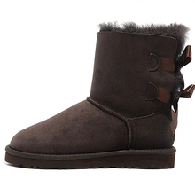 Top quality winter boots sheepskin  wool real leather  boots for women with bows Australia style  genuine leather  snow boots